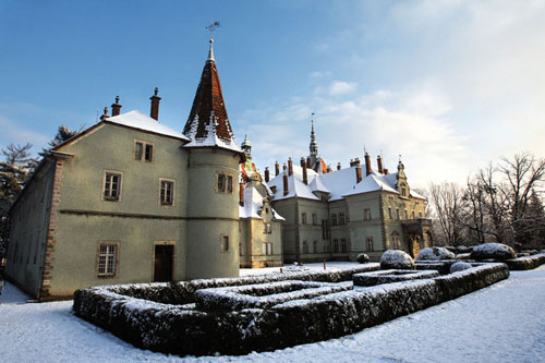 castle in winter, Transcarpathian region, Ukraine